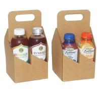 Картонный бокс на 4 ПЭТ бутылки объем 0,3-0,5 литра